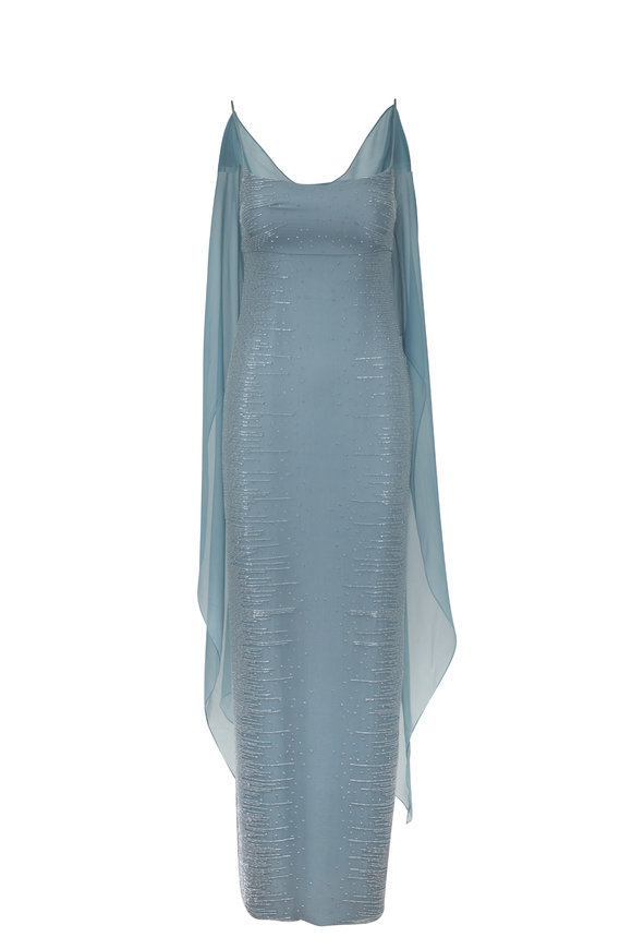 Donald Deal Light Sage Beaded Sleeveless Gown With Shawl