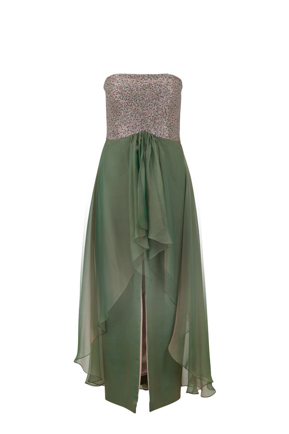 Donald Deal Malt Chiffon Multi-Beaded Strapless Gown