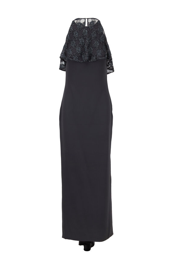 Donald Deal Anthracite Gray Lace & Beaded Halter Gown