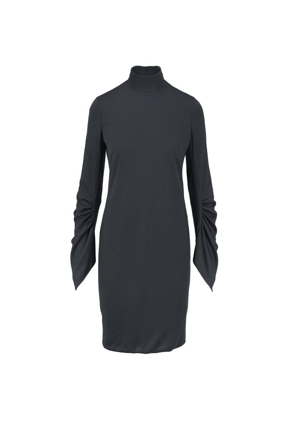 Akris Charcoal Cashmere & Silk Knit Draped Sleeve Sheath