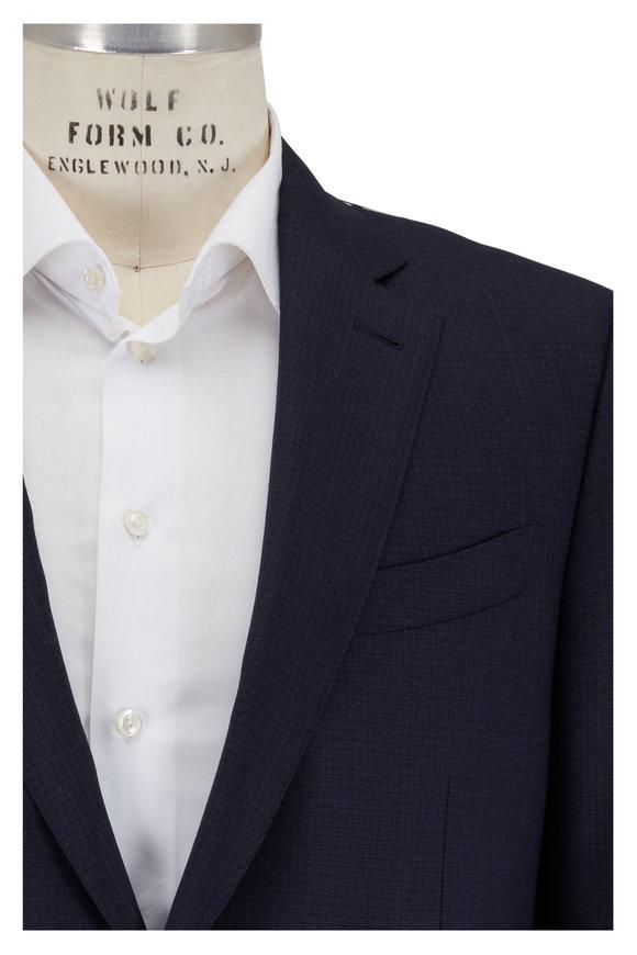 Ermenegildo Zegna Navy Blue Tonal Mini Check Suit