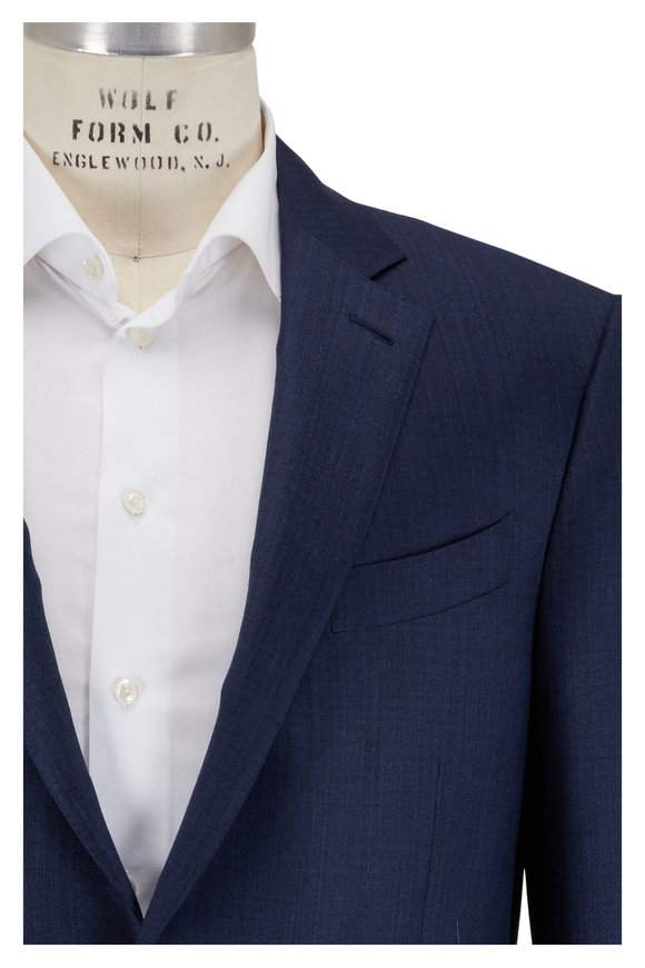 Ermenegildo Zegna Blue Wool & Silk Suit