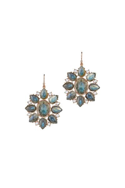 Irene Neuwirth - Rose Gold Labradorite Diamond Earrings