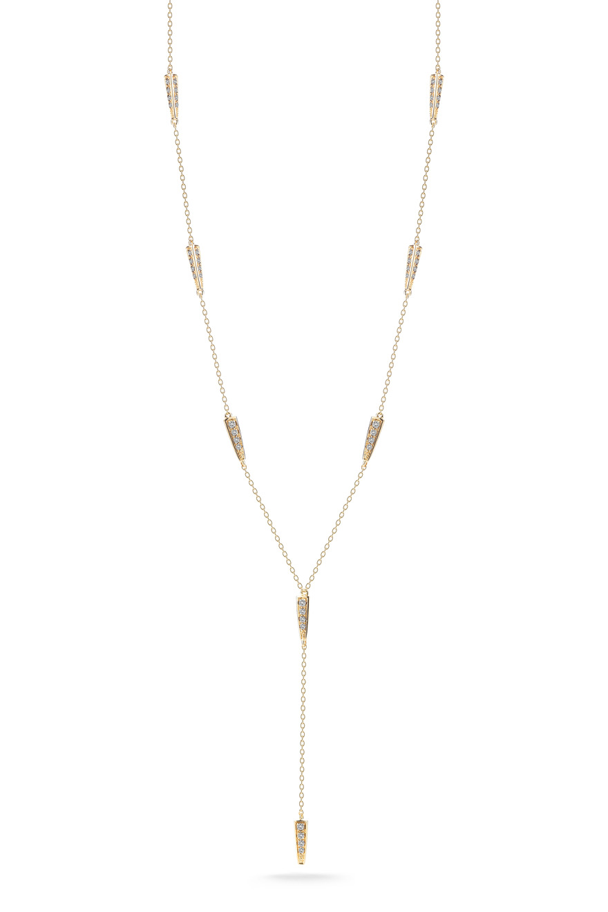 Northern Star Gold White Topaz Lariat Necklace