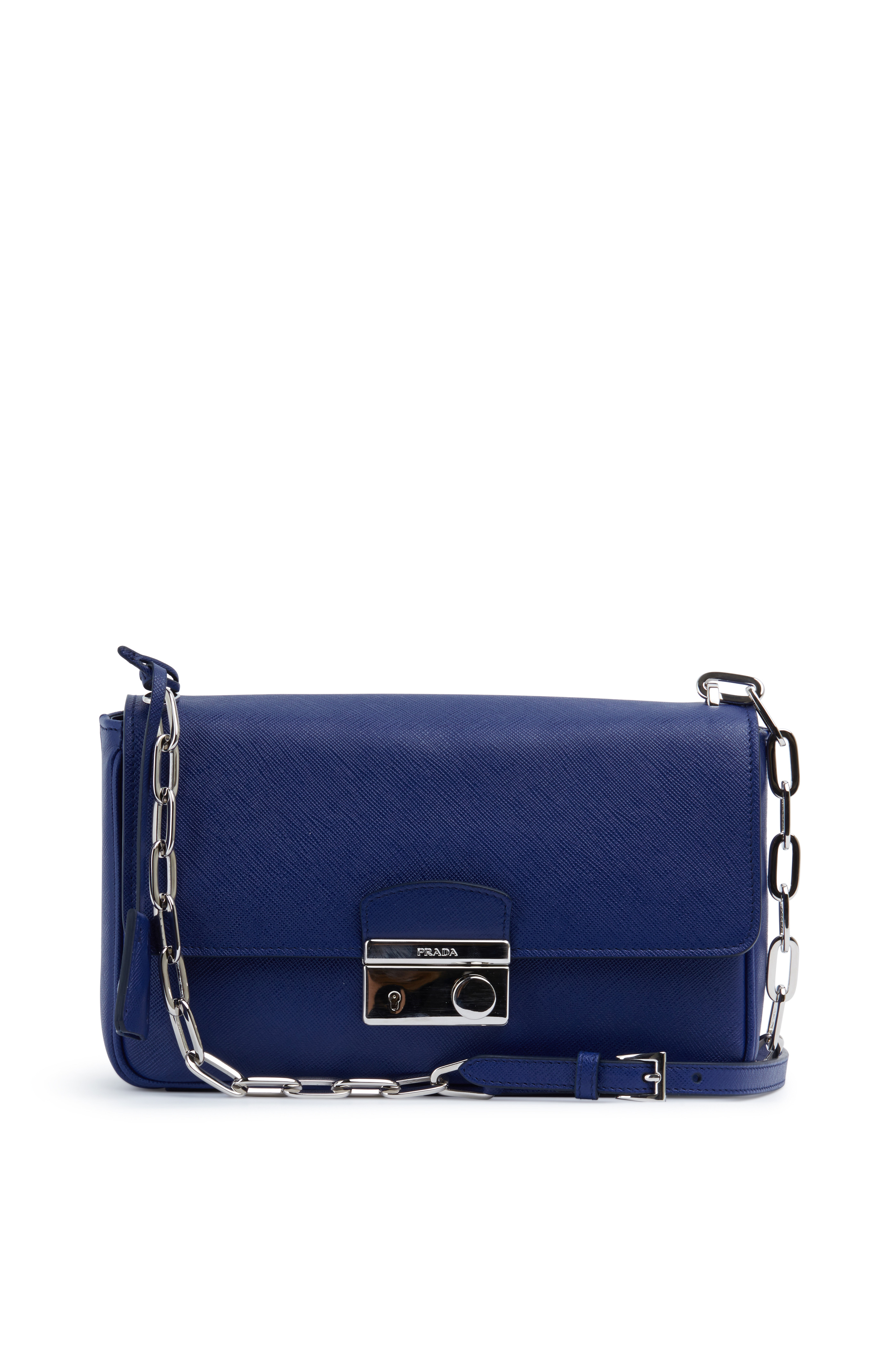 46bf9fd0 Prada - Navy Blue Saffiano Leather Chain Shoulder Bag | Mitchell Stores