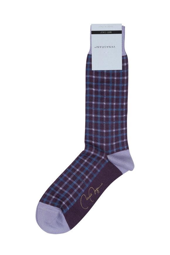 VKNagrani Purple Check Socks