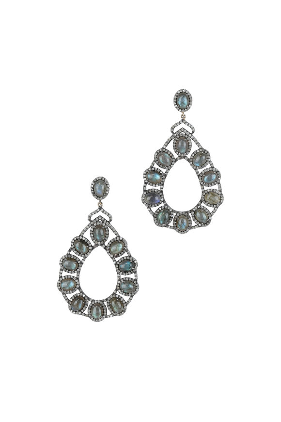 Loren Jewels 14K Gold & Silver Diamond & Labradorite  Earrings