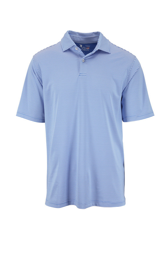 Fairway & Green Baltic Blue Stripe Tech Polo