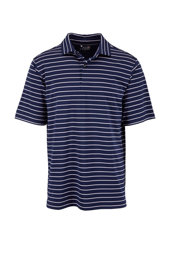 Fairway & Green Marine Blue Patriot Stripe Tech Polo