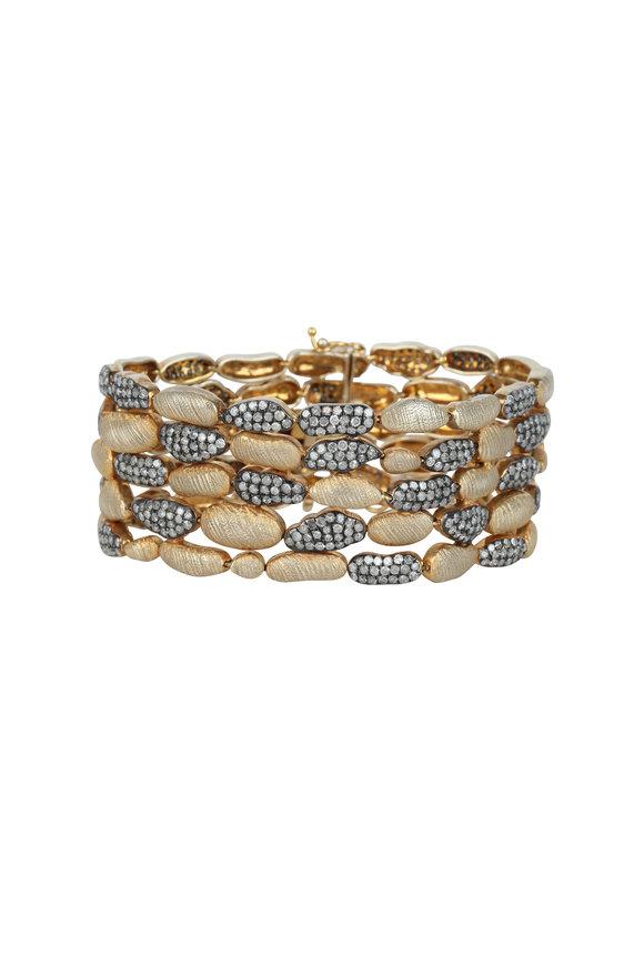 Loren Jewels 18K Gold & Silver Pavè Champagne Diamond Bracelet