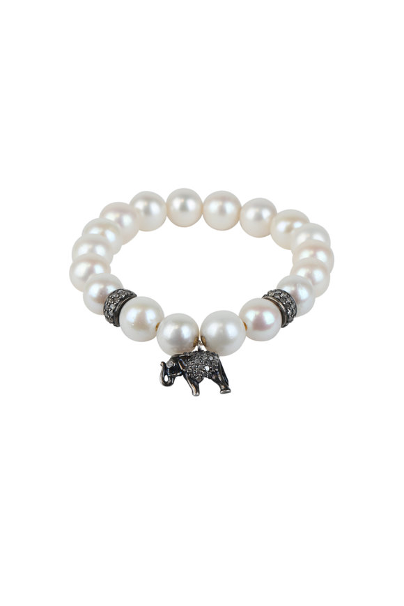 Loren Jewels Sterling Silver Pearl & Diamond Stretch Bracelet