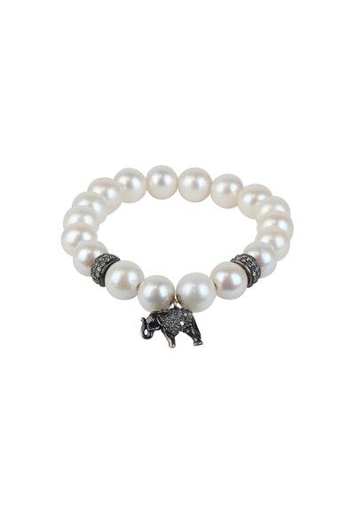 Loren Jewels - Sterling Silver Pearl & Diamond Stretch Bracelet