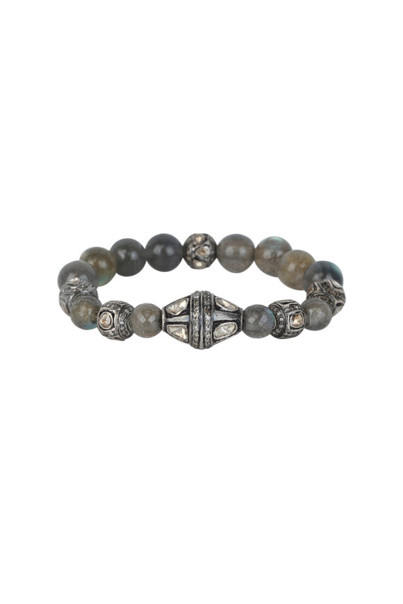 Loren Jewels Silver Labradorite & Diamond Stretch Bracelet