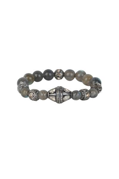 Loren Jewels - Silver Labradorite & Diamond Stretch Bracelet