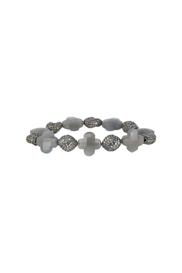 Loren Jewels Sterling Silver Pavè & Labradorite Stretch Bracele