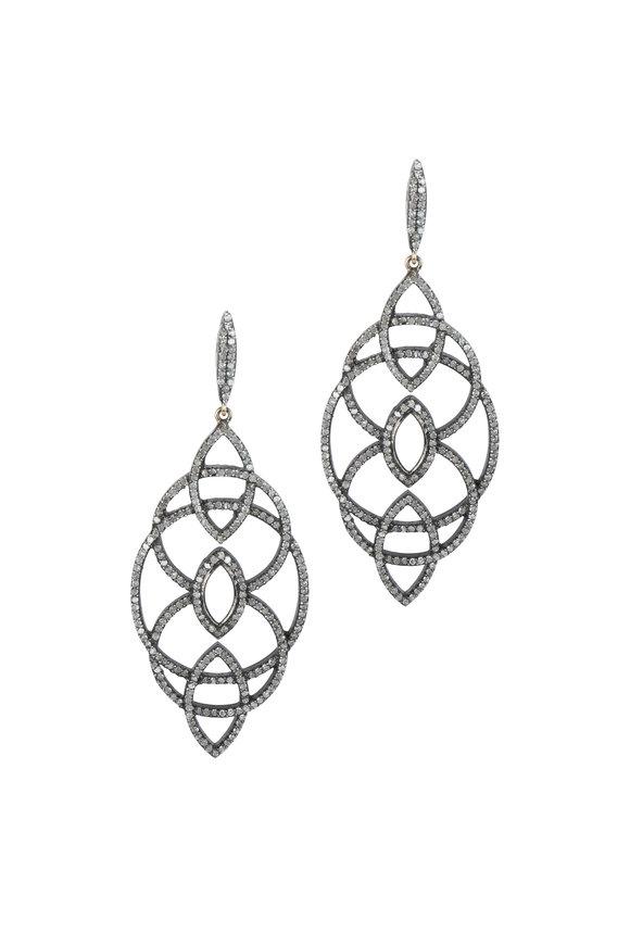 Loren Jewels 14K Gold & Silver Pavè Champagne Diamond Earrings