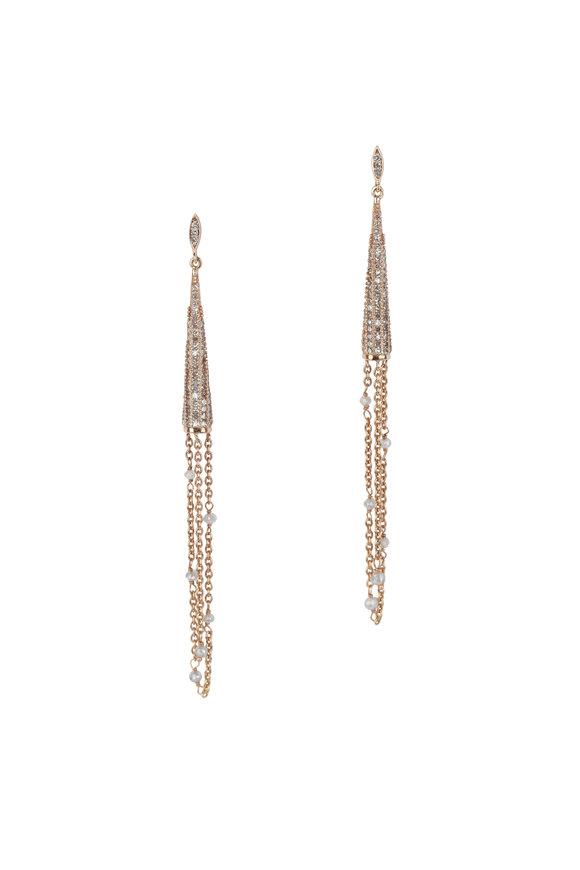Loren Jewels 18K Rose Gold Diamond Long Chain Earrings