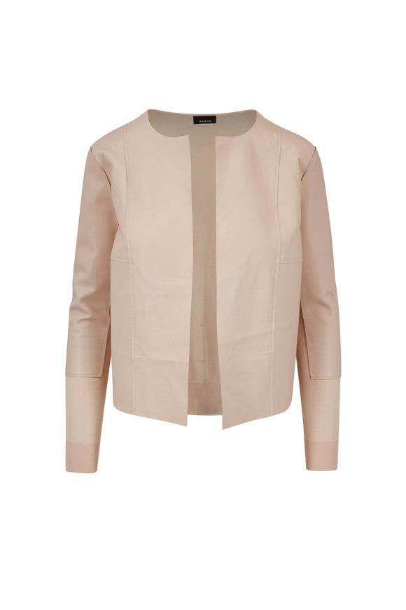 Akris Moonstone Leather Front & Sheer Back Jacket