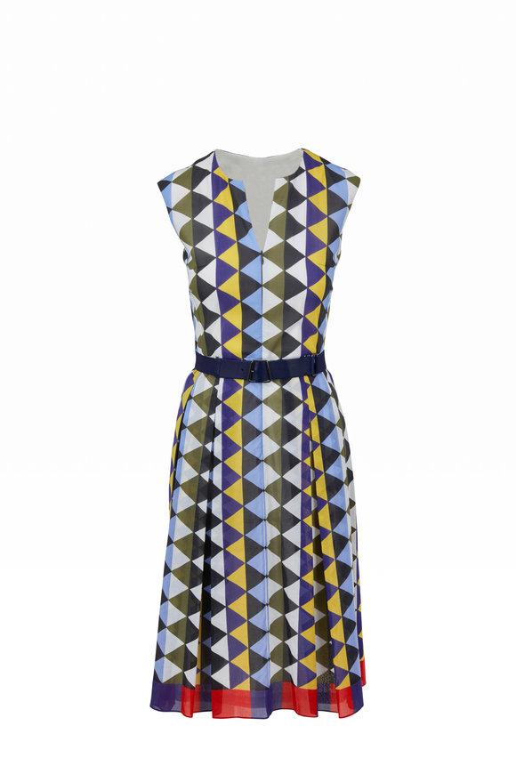 Akris Multi Diamond Pattern Cotton Sleeveless Dress