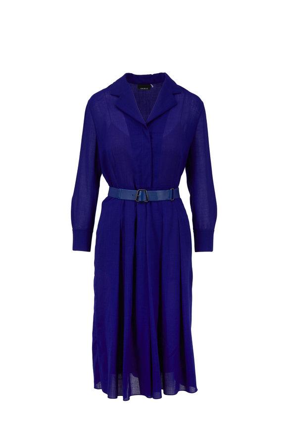 Akris Iris Wool Gauze Pleated Shirt Dress