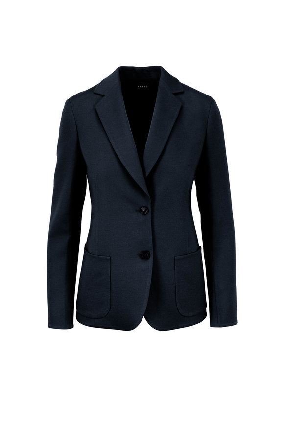 Akris Saigon Indigo Double-Face Wool & Cashmere Blazer