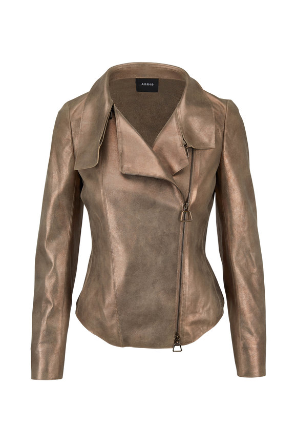 Akris Ranka Metallic Suede Cropped Jacket