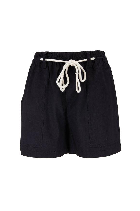 Vince Black Linen Blend Rope Tie Shorts