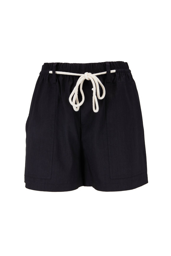 Vince Black Linen Blend Rope Tie Shorts