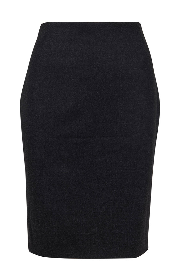 Akris Charcoal Gray Stretch Wool Pencil Skirt