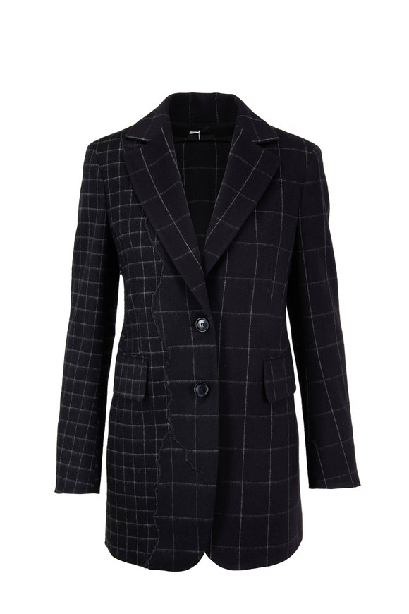 Akris Selia Slate Wool Tile Patchwork Long Jacket