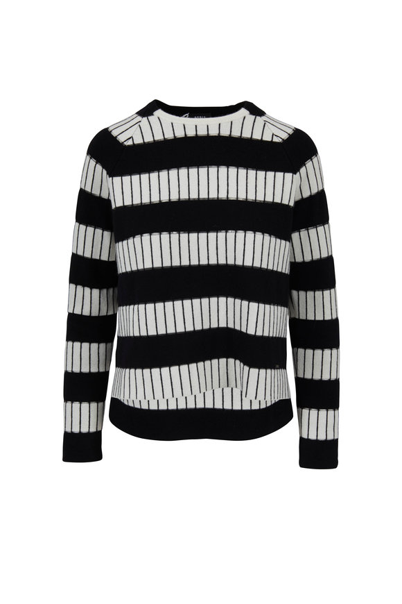 Akris Schwartz Paper Striped Boxy Sweater