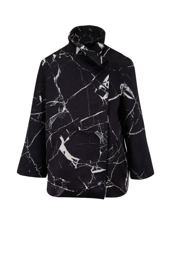 Akris Black & Paper Marble Tile Print Jacket