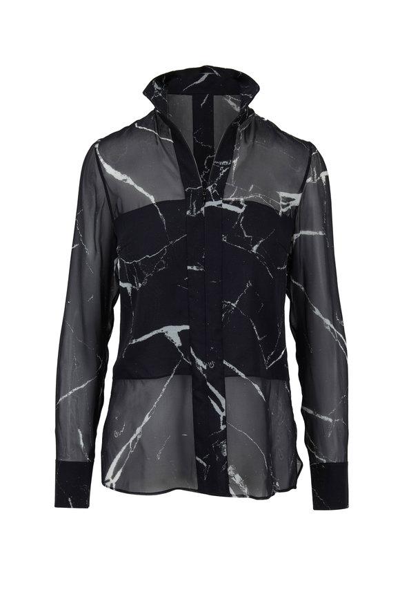 Akris Black & Paper Silk Marble Print Blouse
