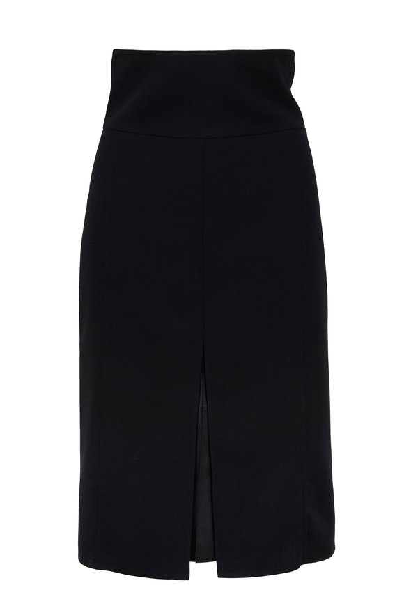 Akris Black Wool & Leather Slit Midi Skirt