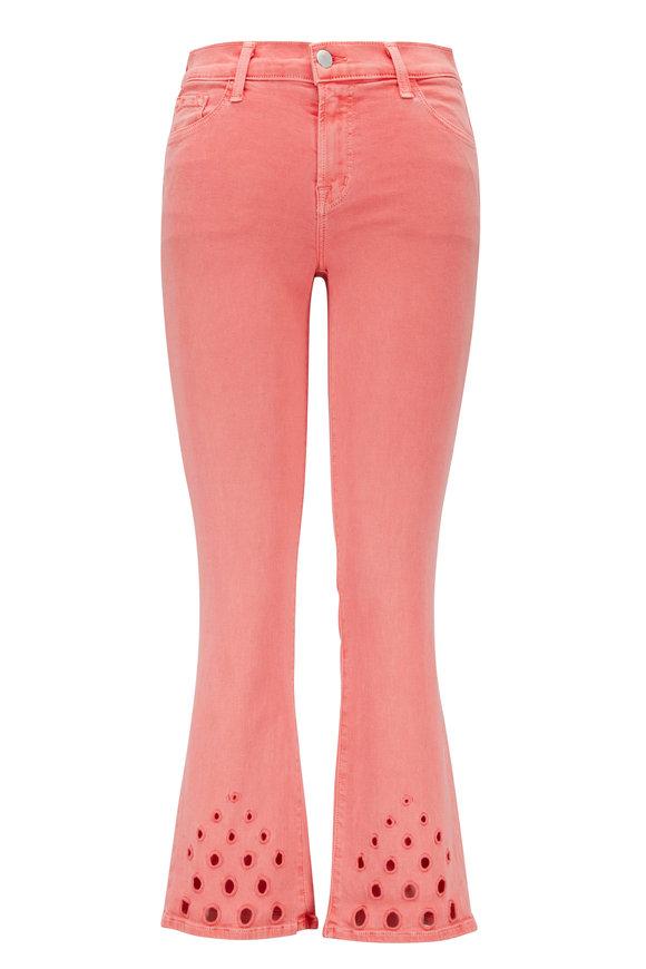 J Brand Selena Pink Eyelet Mid-Rise Crop Boot Jean