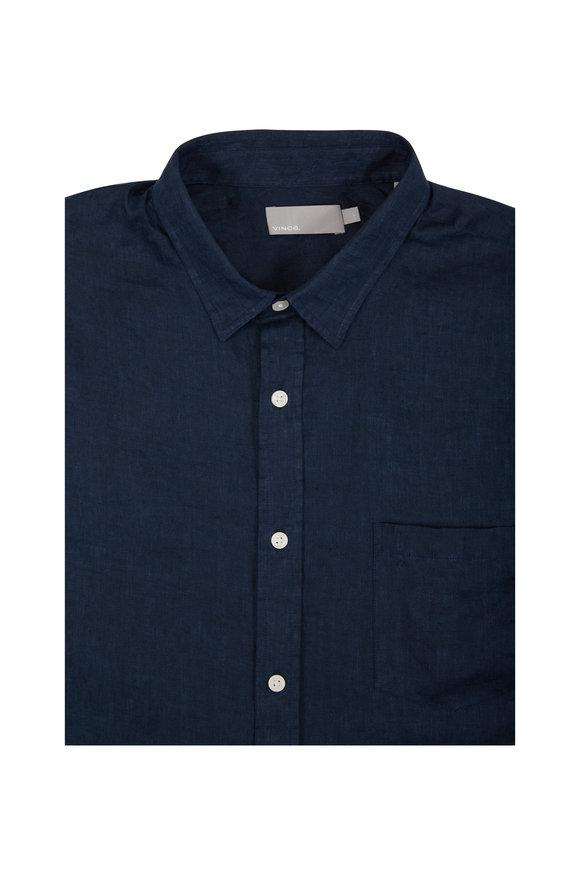Vince Coastal Blue Washed Linen Sport Shirt