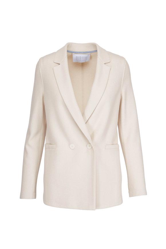 Harris Wharf Cream Cashmere & Silk Double-Breasted Boxy Blazer
