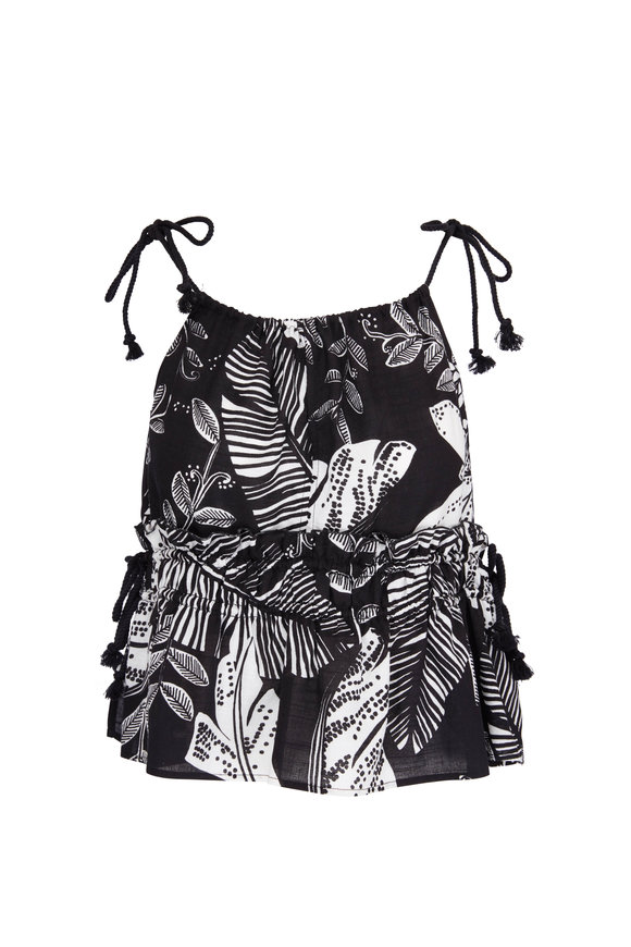 See by Chloé Black & White Floral Print Top