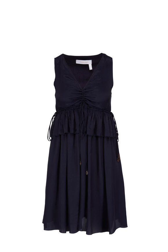 See by Chloé Navy Ruffled Sleeveless Dress