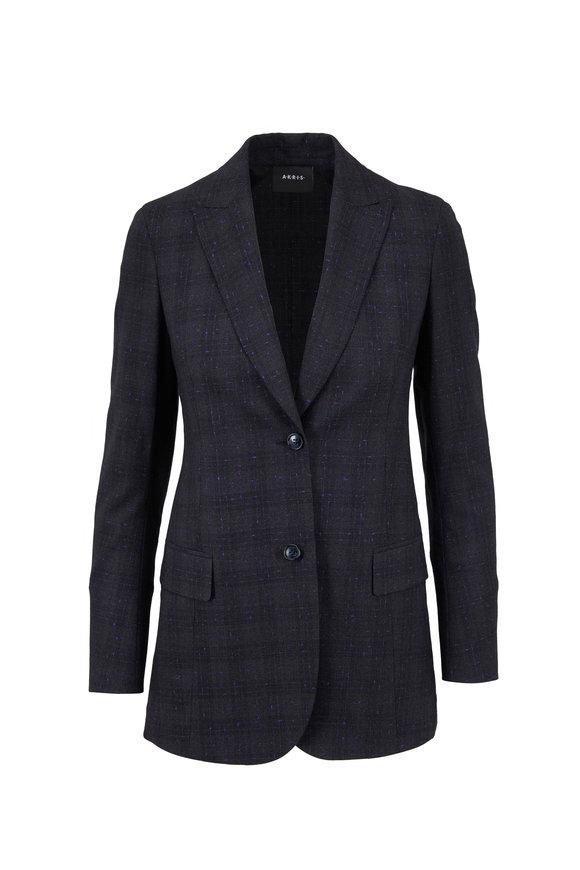 Akris Sanno Charcoal Wool With Purple Flecks Jacket