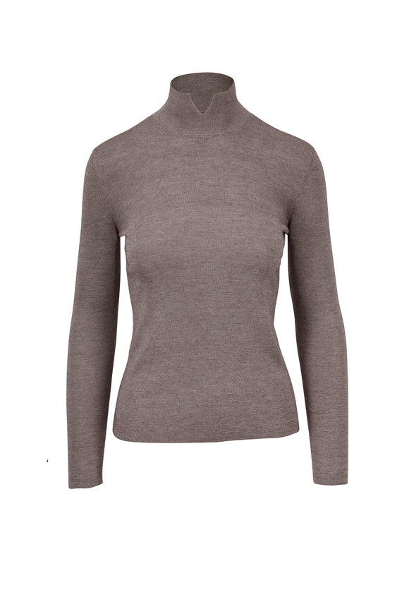 Akris Clay Cashmere & Silk Split Mock-Neck Sweater