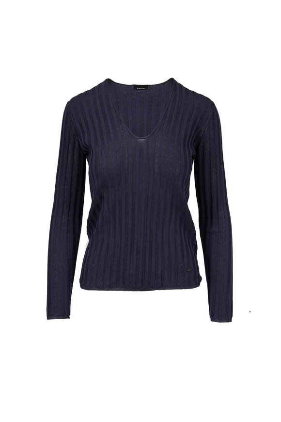 Akris Denim Blue Silk & Lurex Ribbed V-Neck Sweater
