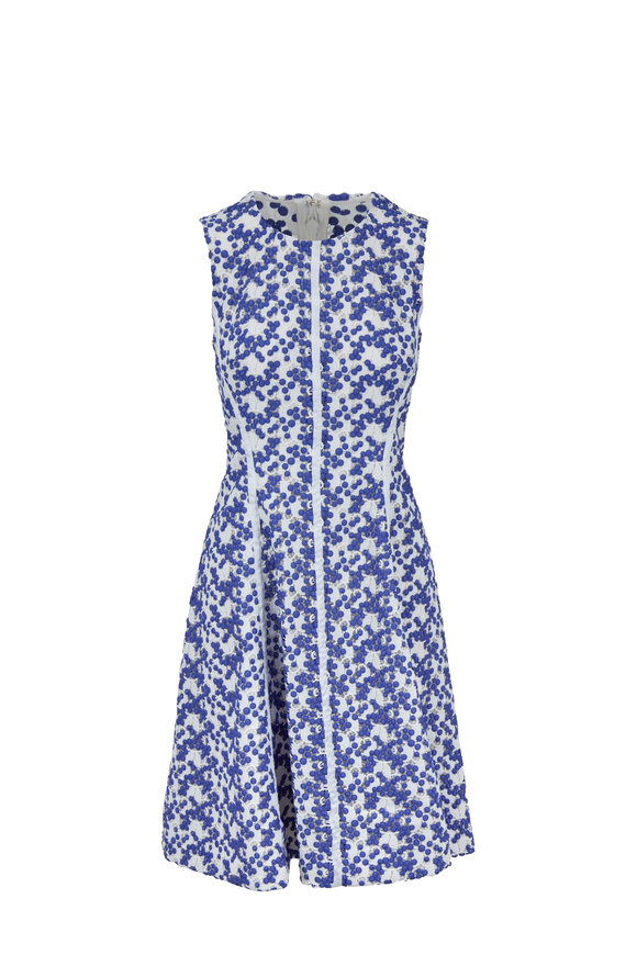 Lela Rose Ivory & Cobalt Dotted Lace Sleeveless Dress