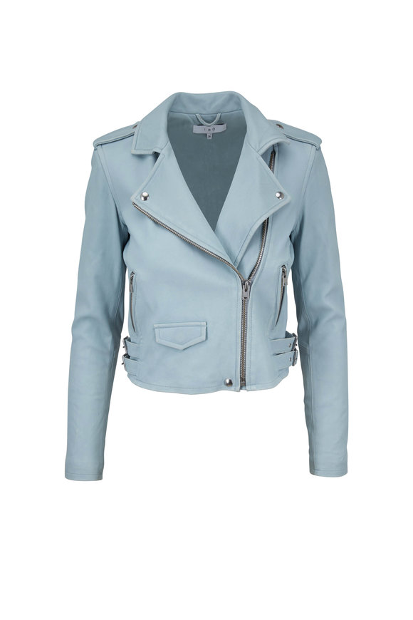 IRO Ashville Bleached Blue Leather Jacket