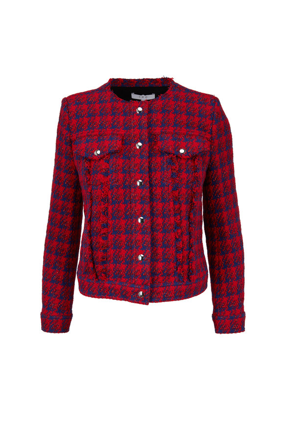 IRO Quilombe Red & Blue Metallic Check Jacket