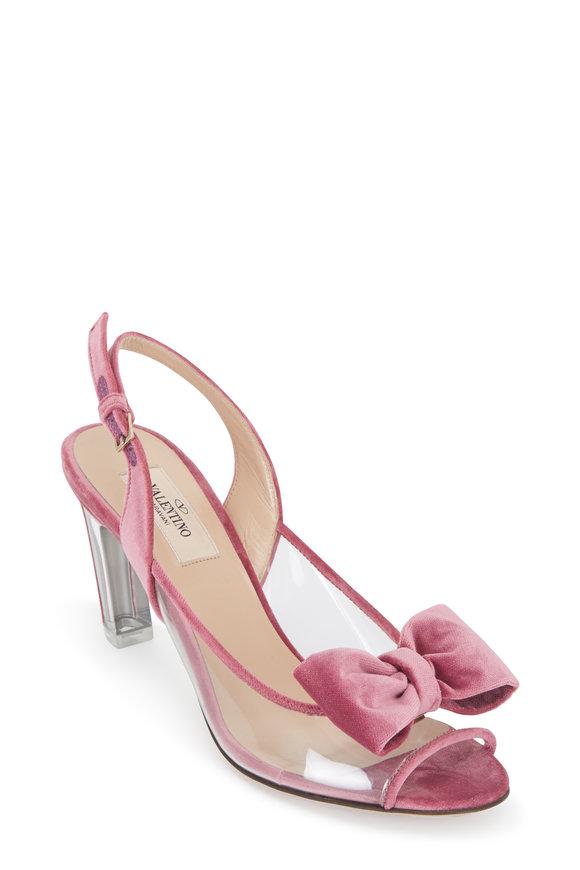 VALENTINO GARAVANI Pink Velvet Lucite Heel Slingback, 75mm