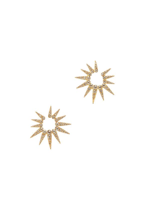 Oscar de la Renta Gold & Crystal Vintage Rose Sea Urchin Earrings