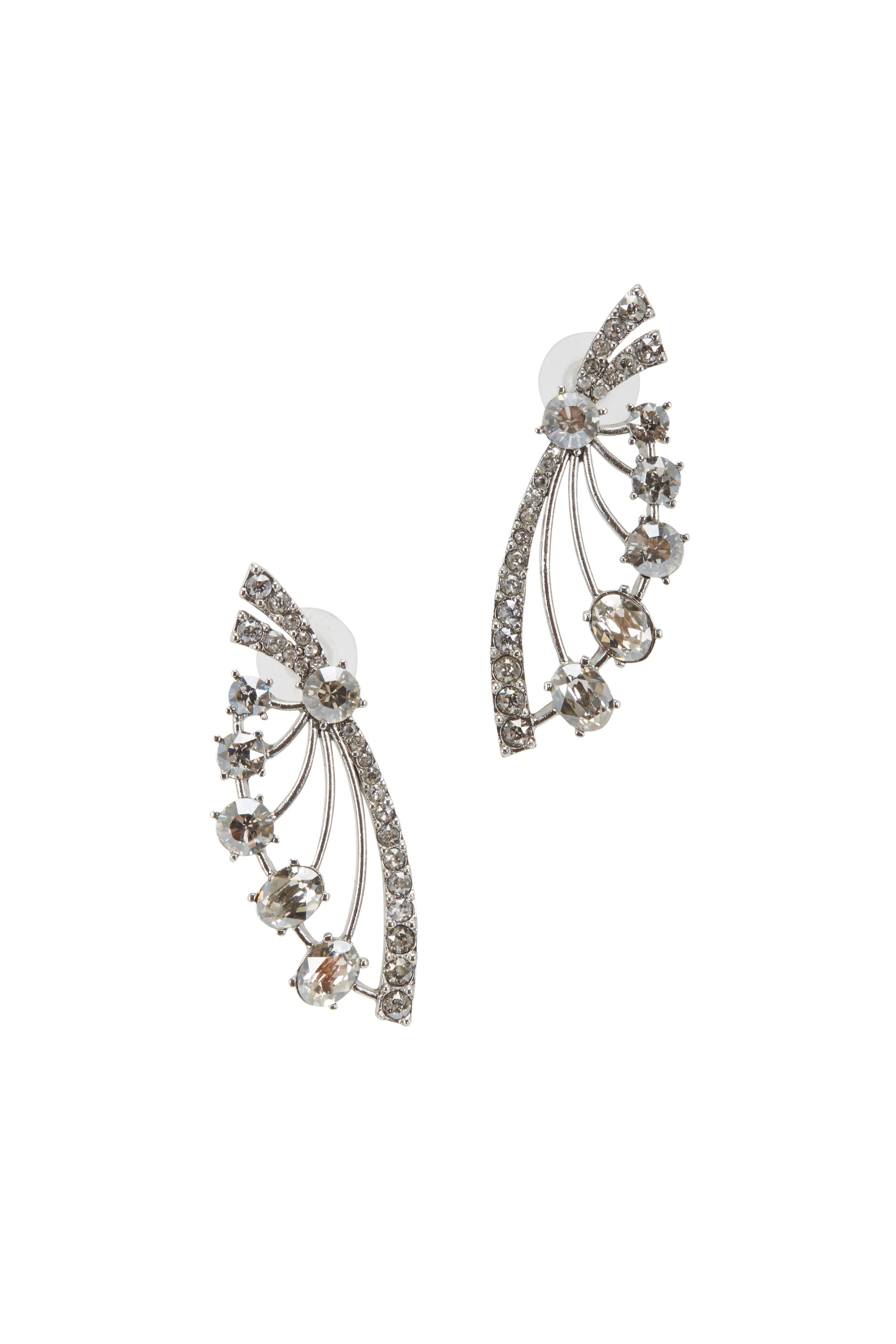 1d0518c97 Oscar de la Renta - Silver & Crystal Fan Earrings | Mitchell Stores