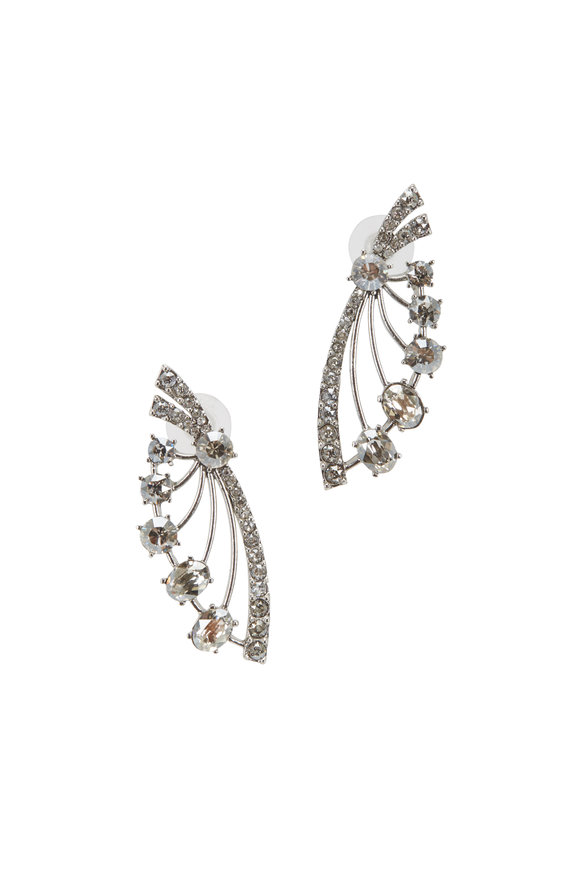 Oscar de la Renta Silver & Crystal Fan Earrings