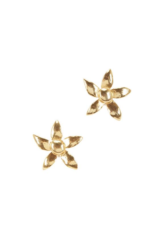 Oscar de la Renta Gold Bold Flower Earrings